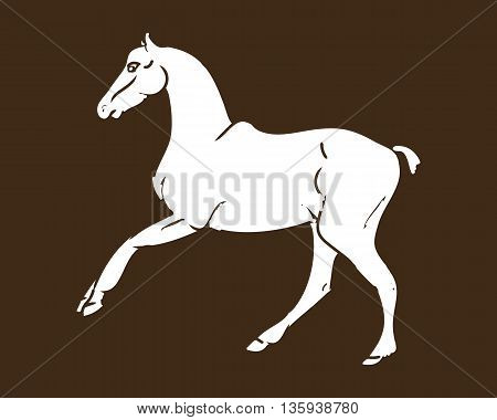 Graphic image of a galloping horse. White horse silhouette on the dark background. Vector illustration