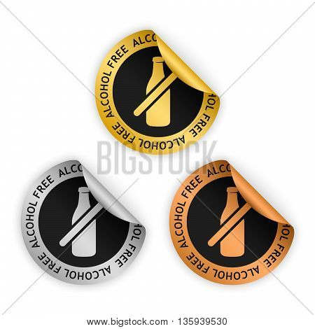 vector gold silver bronze bent stickers with symbol of alcohol free