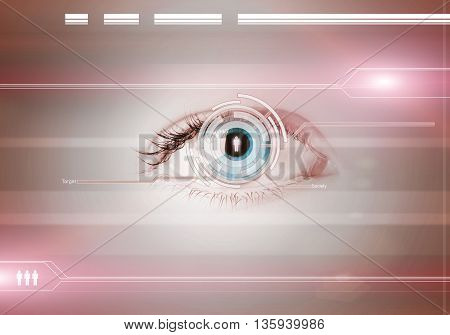 Close up of human eye on digital binary background