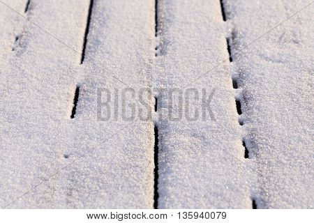 Snow Covered Wood Terrace