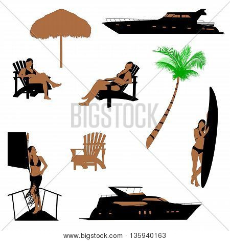 set of beach recreation realistic silhouettes with brunette girl in bikini