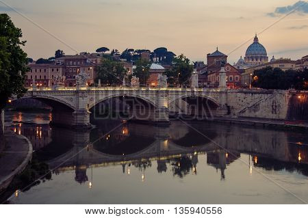 views of Rome and St. Peter's Basilica from the River Tiber