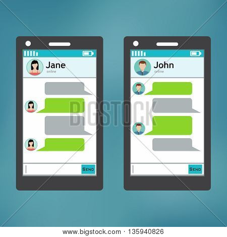 Smartphone chatting sms template bubbles. Place your own text to the message clouds.
