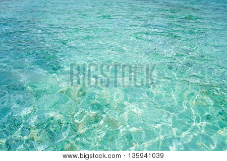 Crystal clear blue water in tropical lagoon for texture or background