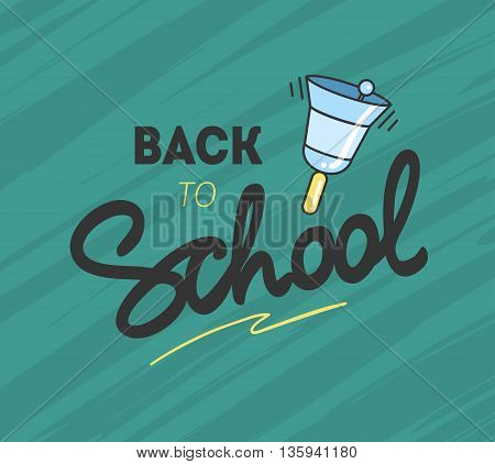 Back to school logo with a school bell. Vector illustration