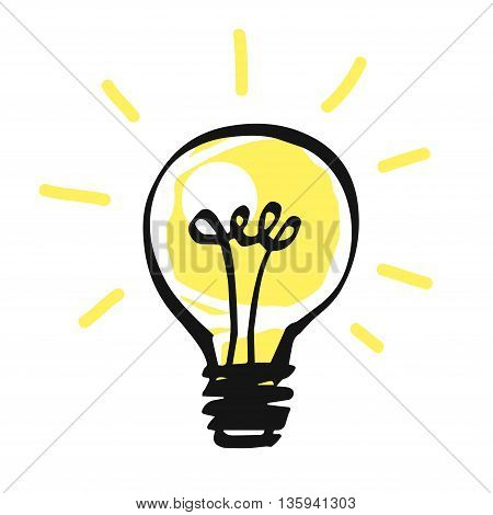 Vector light bulb icon on white, idea concept.
