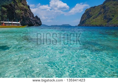 Scenic view of sea bay blue lagoon and mountain islands Palawan Philippines