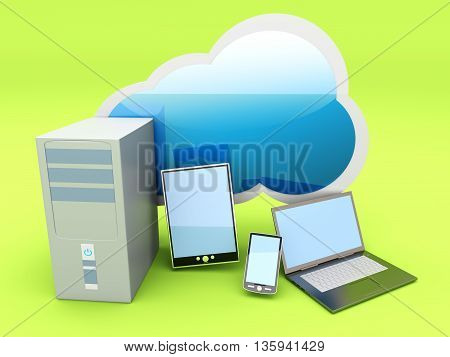 Cloud computing. A 3D rendered illustration. .