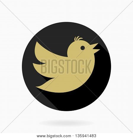 Fine vector icon with flying bird in the circle. Flat design with long shadow. Black and golden pattern