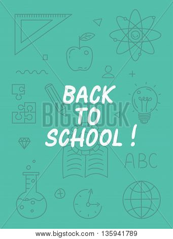 Back to school text with various school icon elements on background.