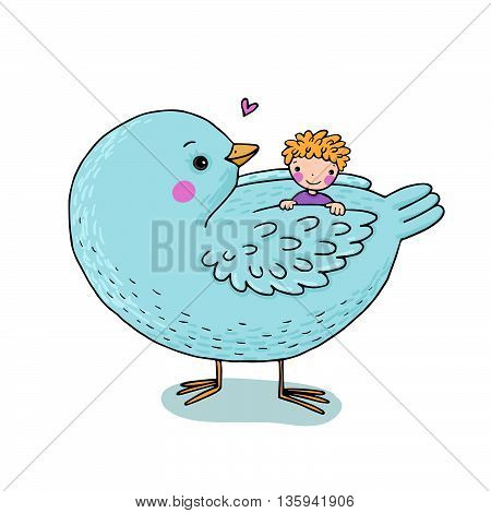 Cute cartoon baby and big bird. Hand drawing isolated objects on white background. Vector illustration.