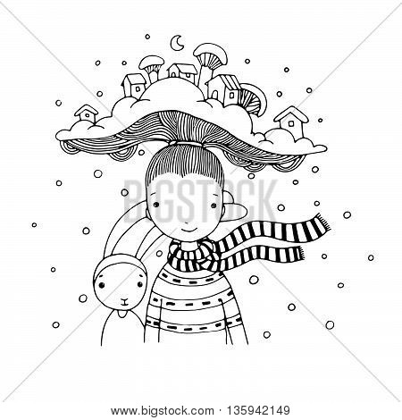 Young beautiful girl with interesting hat. Winter Village. Hand drawn vector illustration. Coloring book.