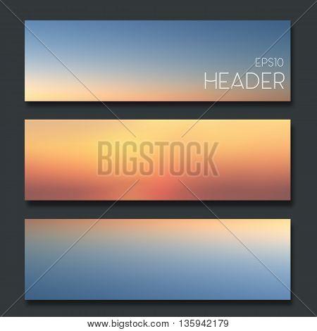 Set of blurred headers. Web design or app design elements.