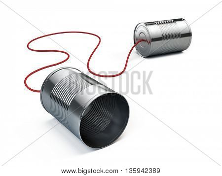 Communication concept: Tin can phone isolated on white. 3d render