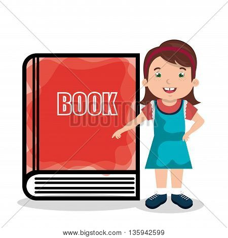 girl and book isolated icon design, vector illustration  graphic