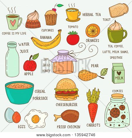 Set of hand drawn breakfast food and icons doodle set. School lunch menu. Vector illustration.