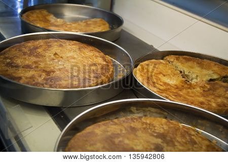 Burek, traditional Balkan food made out of dough..