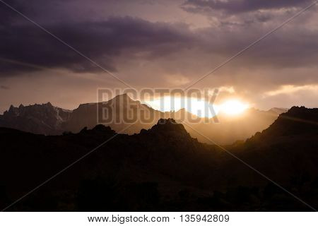 Colorful Sunset over the Sierra Nevada Mountains.  Lone Pine, California, USA