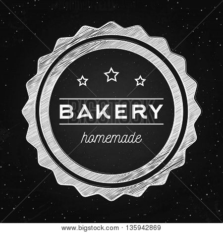 Bakery homemade - vector logo for bakehouse. Vector poster on the chalkboard. Hipster style