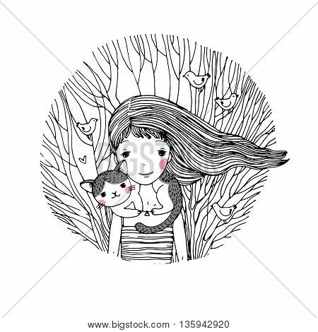 Beautiful young girl and a cute cat on a white background. Hand drawn vector