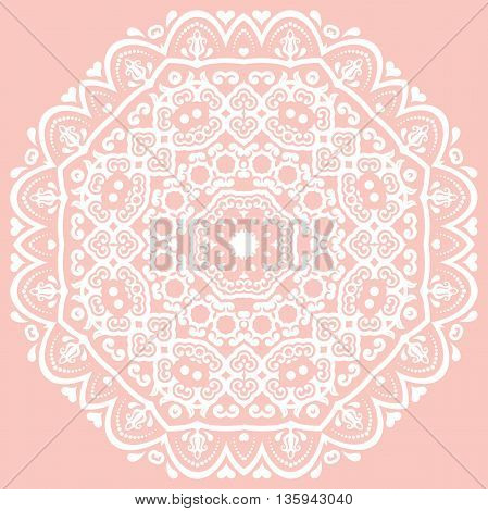 Oriental vector pattern with arabesques and floral elements. Traditional classic round ornament. Pink and white pattern