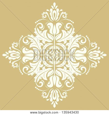Elegant vector square ornament in the style of barogue. Abstract traditional pattern with oriental elements. Golden and white pattern