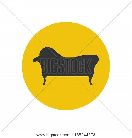 Chaise lounge armchair seat silhouette on the yellow background. Vector illustration