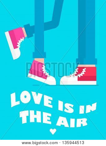 The card of couple feet standing near each other and sweet text иуддщц. Vector flat illustration. Great idea for love concept. Text could be easile removed