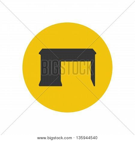 Desk writing desk silhouette on the yellow background. Vector illustration