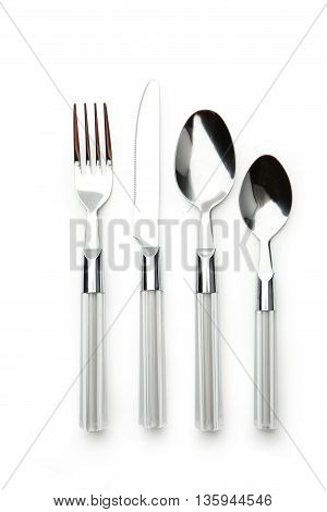 Fork spoon and knife on white background