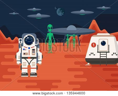 Good concept of Mars Colonization mission one. The future home for humans on the red planet. Flat vector illustration. Trendy design.