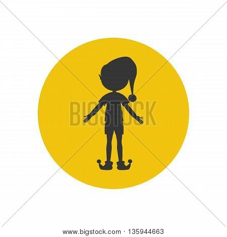 Elf silhouette icon on the yellow background. Vector illustration