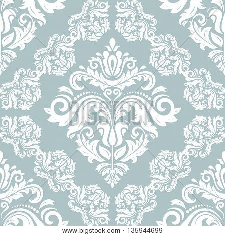 Oriental vector classic pattern. Seamless abstract background with repeating elements. Blue and white pattern