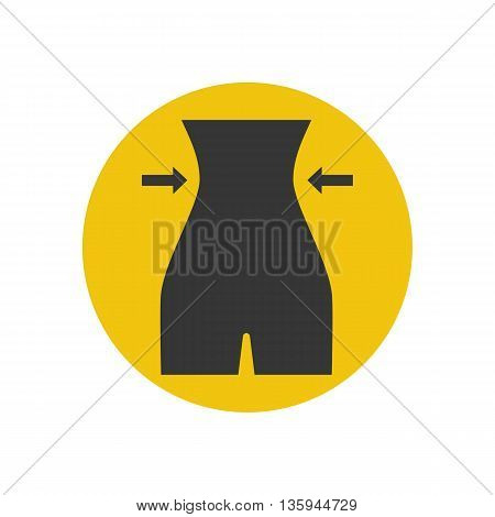 Female figure silhouette on the yellow background. Vector illustration