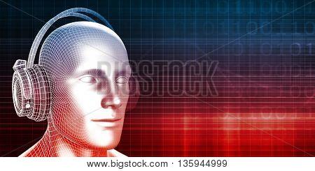 Trendy Music Inspired DJ Disco Background Art 3d Illustration Render
