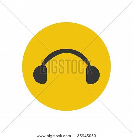 Headphones silhouette icon on the yellow background. Vector illustration