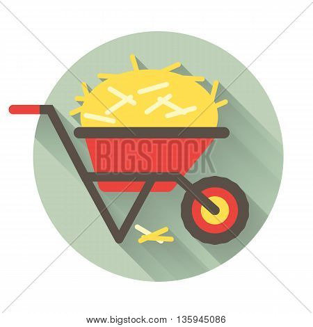 The wheelbarrow full of straw icon isolated on a background with the long trendy shadow. Vector flat design. Good concept for agricalture.