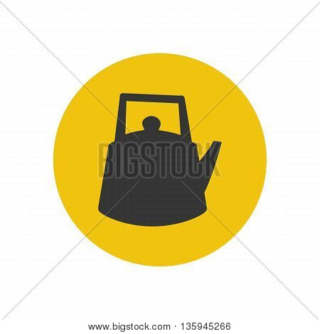 Kettle silhouette icon on the yellow background. Vector illustration