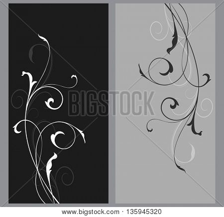 Black and grey floral vector cards template with copy space. Simple floral branch vertical backgrounds.