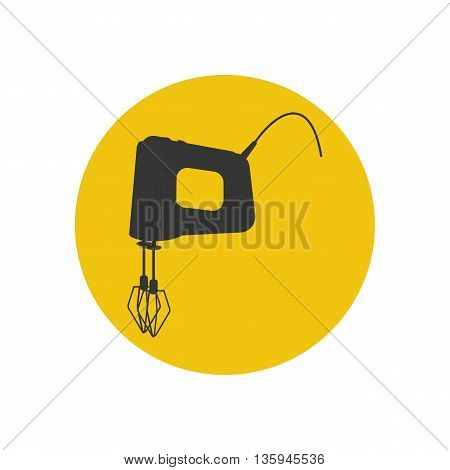 Mixer silhouette icon on the yellow background. Vector illustration
