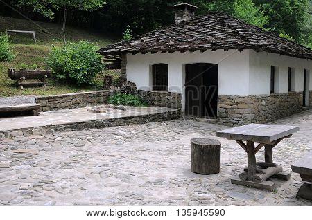 Old white medieval house in Etar in Bulgaria