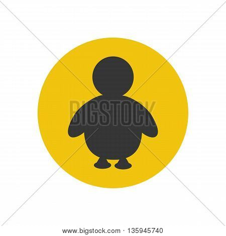 Penguine silhouette icon on the yellow background. Vector illustration