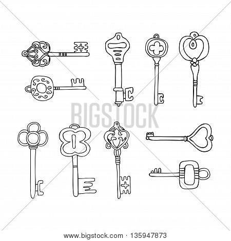 Vector Set of Keys Icons. Modern and Antique Keys. Types of Keys Hand drawn set of keys