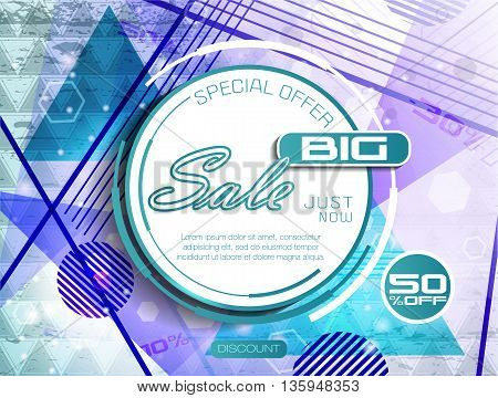 Big Sale background. Special offer. Sale tag poster. Super Sale and special offer. 50% off. Vector Illustration.