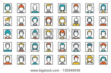 Mega Set of avatars on white, social network, Flat Style Design.