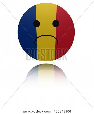 Romania sad icon with reflection 3d illustration