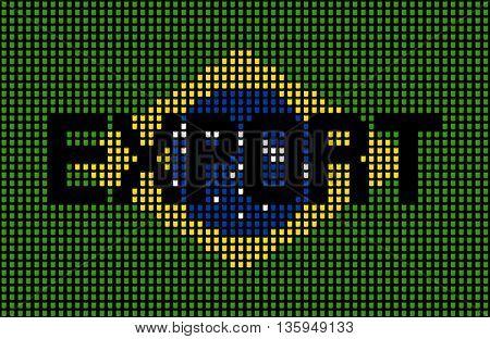 Export text over Brazilian flag barrels illustration