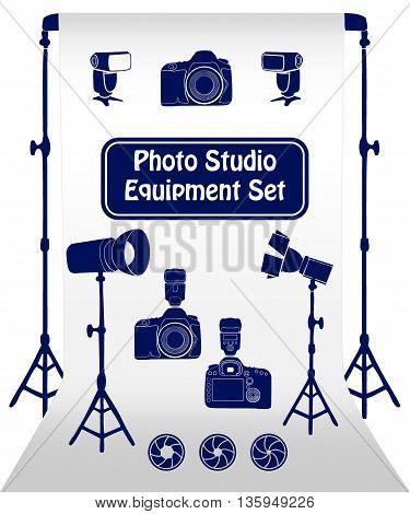 Photo studio equipment cartoon set. Vector illustration