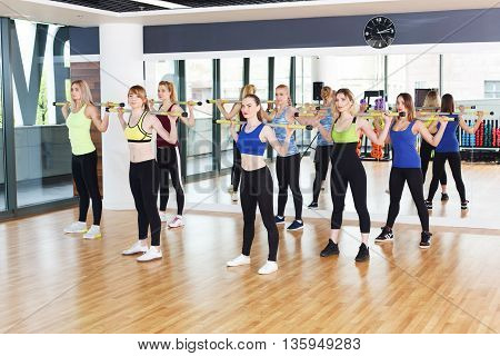 Fitness workout. Group of young women in sport club making exercises. Girls do squats with barbells. Healthy lifestyle in club, training with weights.