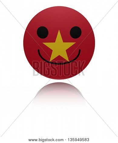 Vietnam happy icon with reflection 3d illustration